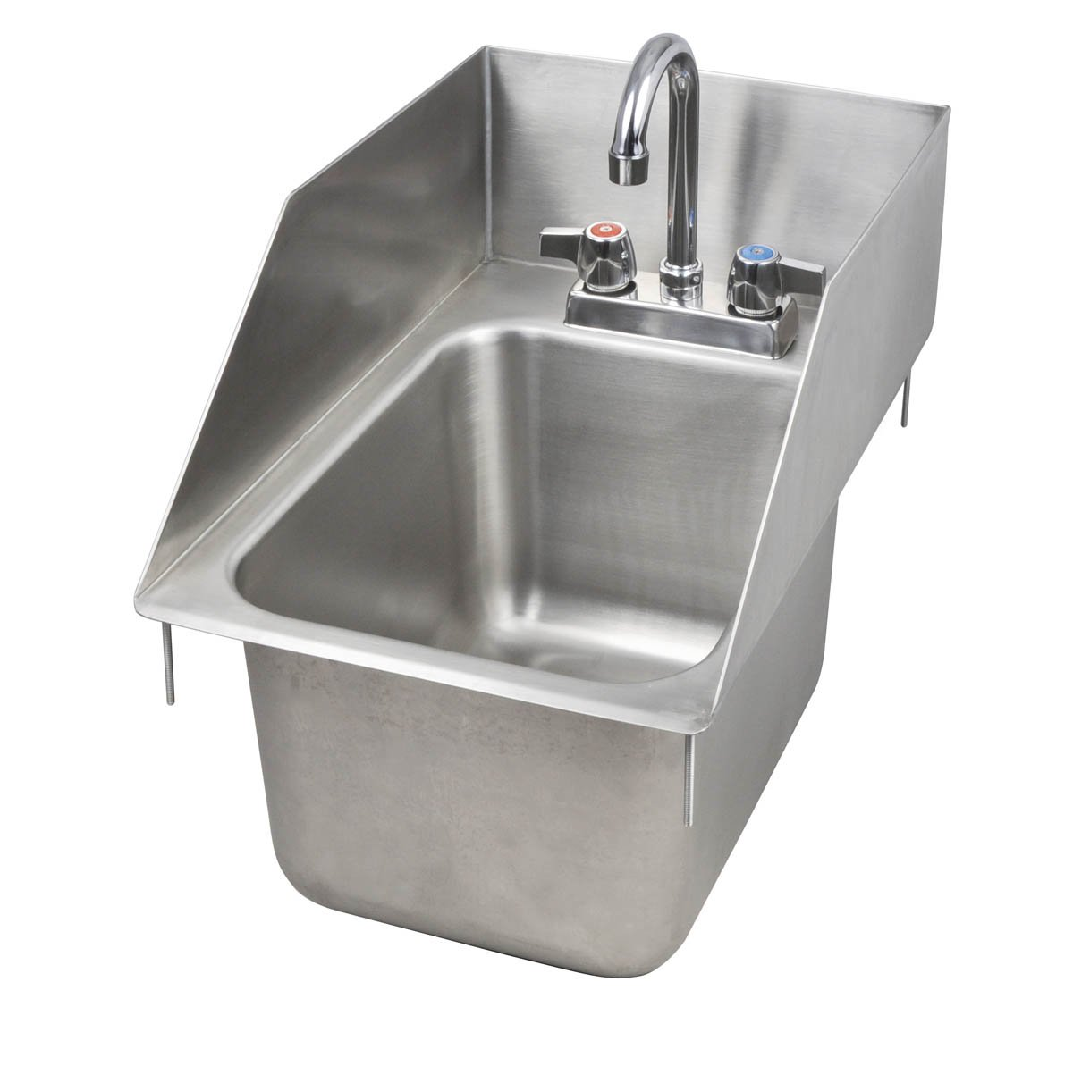 John Boos PB-DISINK101410-P-SSLR Deck Mount Pro-Bowl Drop-In Hand Sink, 14'' Length x 10'' Width x 10'' Depth, PBF-4-D Faucet, Left and Right Hand Side Splash