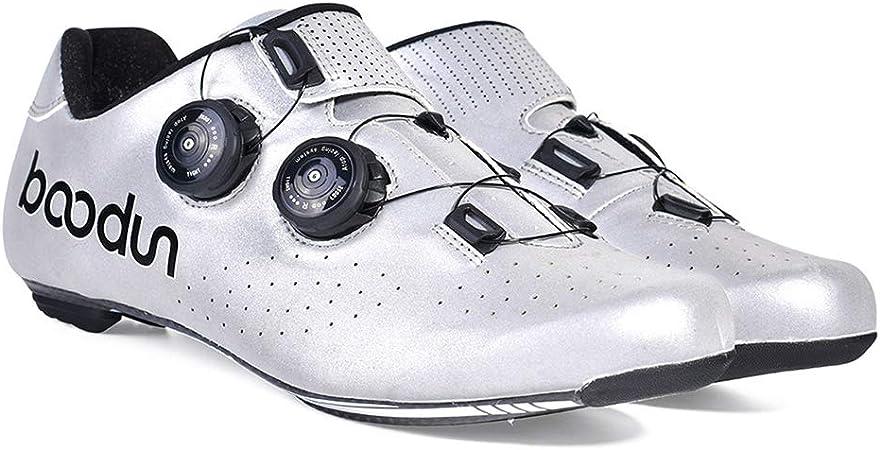 GYPING Zapatillas Ciclismo de Carretera para Hombre Zapatos Bicicleta Superiores Reflectantes Zapatos Bicicleta con Pedal de Bloqueo Amortiguación Transpirable Ocio al Aire Libre,Silver- 44/UK 9.5: Amazon.es: Hogar