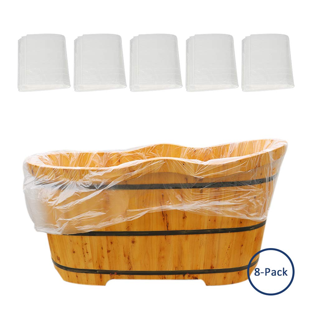 Potatogirl Large Disposable Plastic Bath Bag Film Bathtub Lining Bags for Salon Household and Hotel Bath Tubs 8 pieces
