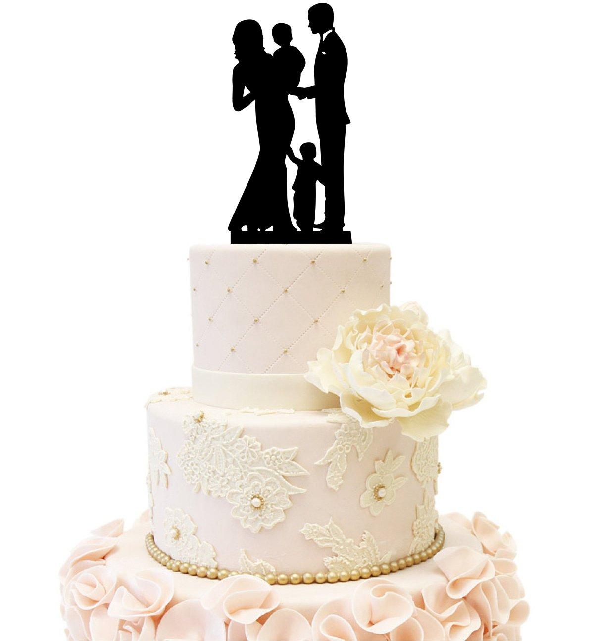 Amazon.com: Wedding Anniversary Family Cake Topper Bride Groom ...