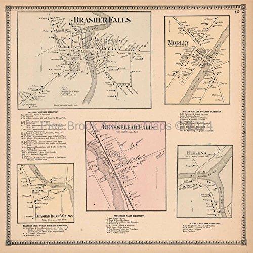 - Brasher Falls Morley Helena New York Antique Map Beers 1865 Original Decor History Ancestry Gift Ide
