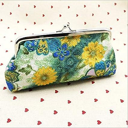 tfxwerws bordado flor de las mujeres monedero cartera bolsa de dinero