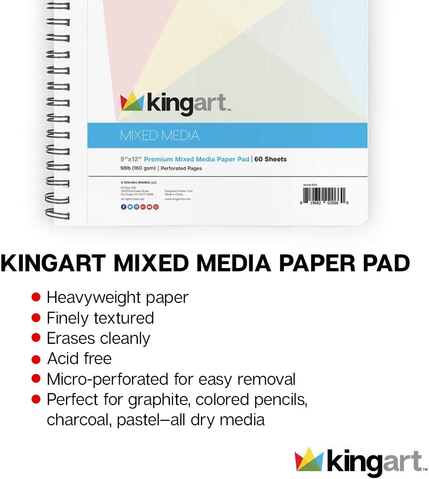 160G Perforated 60 Sheets KINGART Mixed Media Paper Pad Side Wire Bound Heavyweight Fine Texture 11 X 14 98 LBS.
