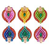 Set of 6 Diwali Decorations Colorful Oil Lamp Diya For Pooja/Puja Home Decor (Multicolor3)