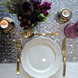 LQIAO Silver Sequin Table Runner-13x108inch Sparkly Shimmer Sequin Fabric, Sequin Table Runner, Sequin Tablecloth, Table Linens Wedding Dining Party Shiny Decoration(18PCS)