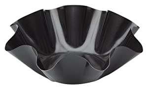 "HIC Harold Import Co. 43741 Large Fluted Tortilla Shell Pans Taco Salad Bowl Makers, Non-Stick Carbon Steel, Set of 2 Tostada Bakers, 18.5"" x 2.5"" Black"