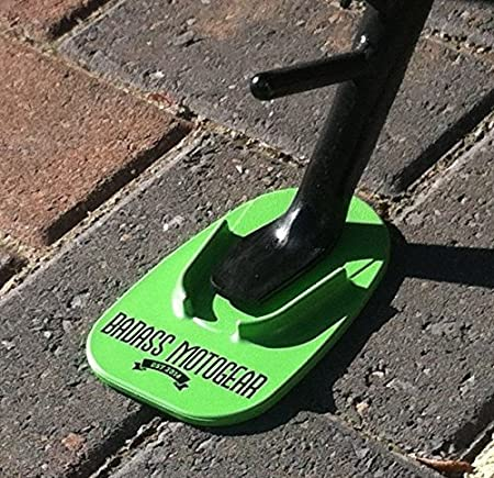 Badass Moto Gear Motorcycle Kickstand Pad - Green - American Made in USA. Durable Biker Kick Stand Coaster/Support Plate Color Choices. Rest or Park Your Bike on Hot Pavement, Grass, Soft Ground BMKPGR