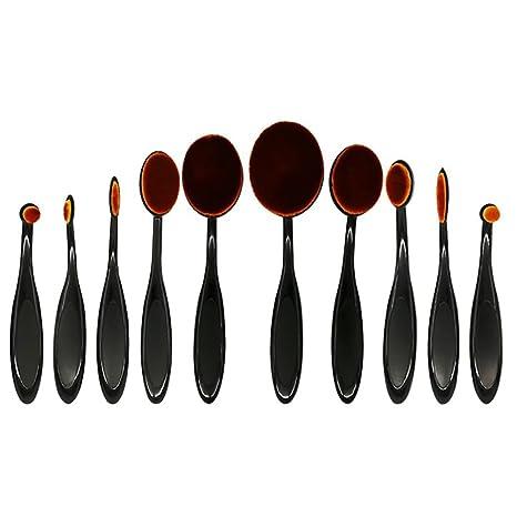 lanomi 10pcs cepillo de dientes oval juego de brochas de maquillaje en polvo Fundación crema contorno