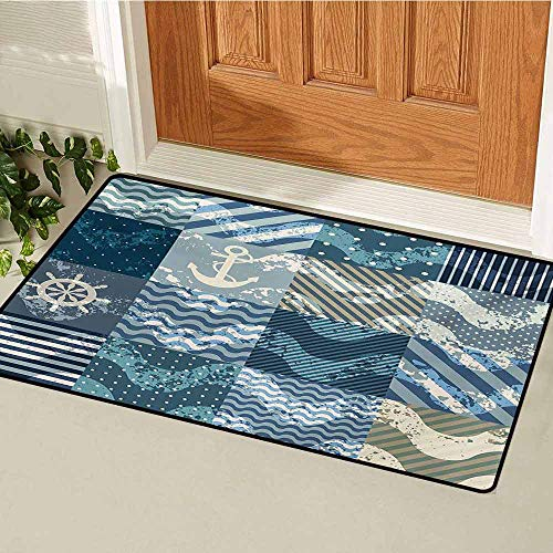 GUUVOR Nautical Welcome Door mat Marine Theme Wave Patterns in Patchwork Style Boxes Squares Striped Anchor Print Door mat is odorless and Durable W29.5 x L39.4 Inch Blue Beige