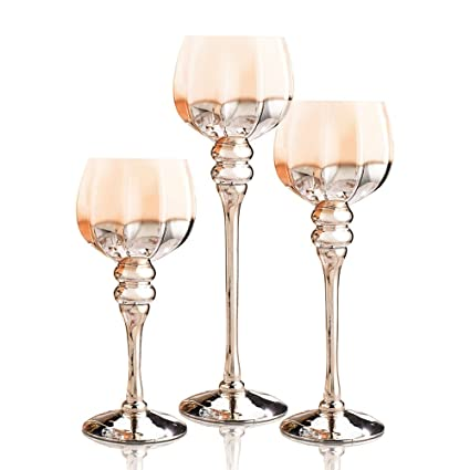 amazon com long stem glass candle holders set of 3 brown gold rh amazon com