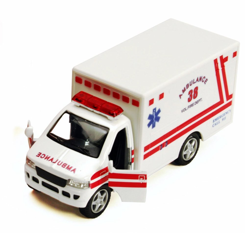 Rescue Team Ambulance, White - Kinsmart 5259D - 5 Diecast Model Toy Car SCNN
