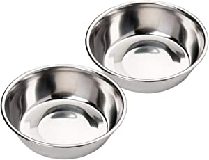 Kulmeo Stainless Steel Cat Dog Food Water Bowl Small Pet Cat Feeder 14oz