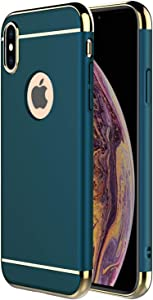 """iPhone Xs Max Case,RORSOU 3 in 1 Ultra Thin and Slim Hard Case Coated Non Slip Matte Surface with Electroplate Frame for Apple iPhone Xs Max (6.5"""")(2018) - Dark Green"""