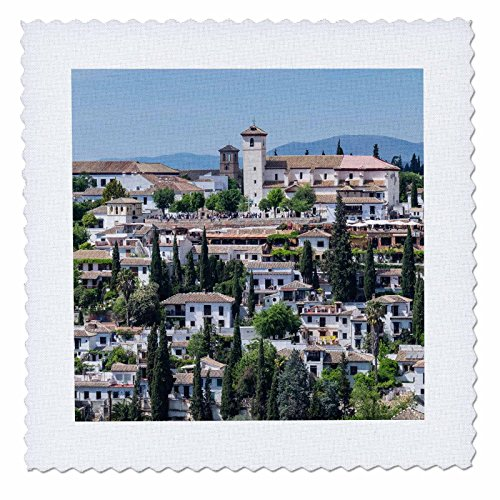 3dRose Danita Delimont - Spain - Spain, Andalusia. Granada. View across a spanish town. - 22x22 inch quilt square (qs_277890_9) by 3dRose