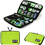Electronics Accessories Organizer Bag,Portable Tech Gear Phone Accessories Storage Carrying Travel Case Bag, Headphone Earphone Cable Organizer Bag (M-Green)