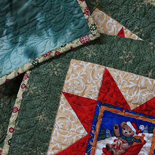 - Table Runner Christmas Teddy Bears Quilted Red Green Gold Patchwork