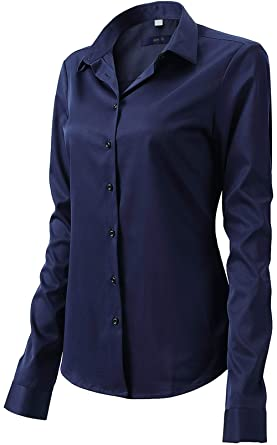 Button Up Shirts for Women Basic Long Sleeve Simple Work Shirts Navy Blue  Size 6 17effc8e95