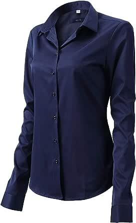 Camisa Blusa Bambú Fibra Clásica Mujer, Manga Larga, Slim Fit, Camisa Elástica Casual/Formal para Mujer