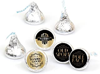 product image for Big Dot of Happiness Roaring 20's - 1920s Art Deco Jazz Party Round Candy Sticker Favors - Labels Fit Hershey's Kisses (1 Sheet of 108)