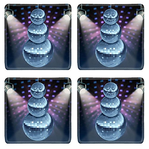 Disco Years Era (Liili Square Coasters Winter holiday music symbol with Dance night disco balls as a mirror sphere Photo)