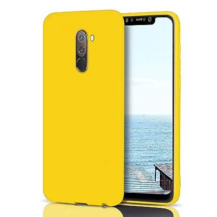 MoEvn Funda Xiaomi Pocophone F1 Silicona, Amarillo Pocophone F1 Carcasa Mate Case Cover TPU Suave Slim Anti Skid Anti Rasguño Candy Color Gel Funda ...