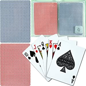 Trademark Poker Gemaco 100% Plastic Weave Standard Poker 2 Deck Setup Playing Cards (Multi)