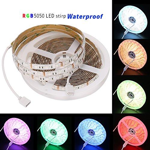 5050 RGB LED Flexible Strip Lights LED Tape Multi-colors, SMD5050 DC12V Waterproof 300LEDs Pack of 16.4ft/5m strips