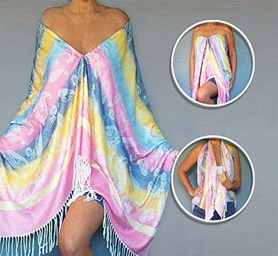 cfc9b5597d38a Amazon.com  Ombre Pastel Rainbow Shawl Pink Wrap Yellow Scarf Blue Poncho  By ZiiCi  Handmade