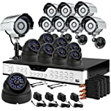 ZMODO 16CH H.264 Standalone DVR CCTV Surveillance System with 8 Bullet Sony CCD Outdoor Cameras & 8 Dome Sony CCD Weatherproof Security Cameras-1TB HD image