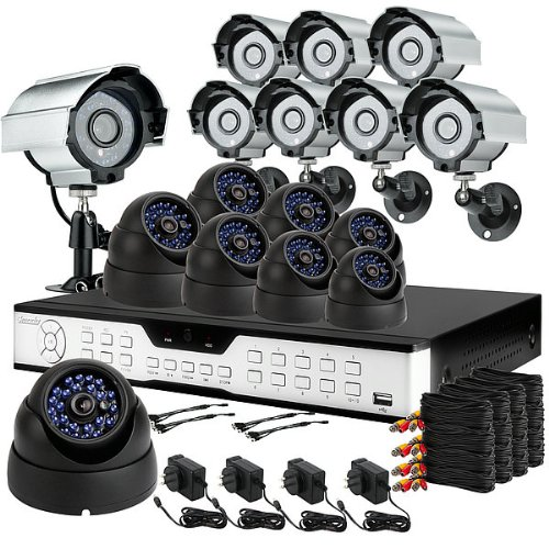 ZMODO 16CH H.264 DVR Home Surveillance Security Camera System with 8 Bullet CCD image sensor Outdoor Cameras & 8 Dome Sony CCD Weatherproof Security CCTV Cameras-1TB HD