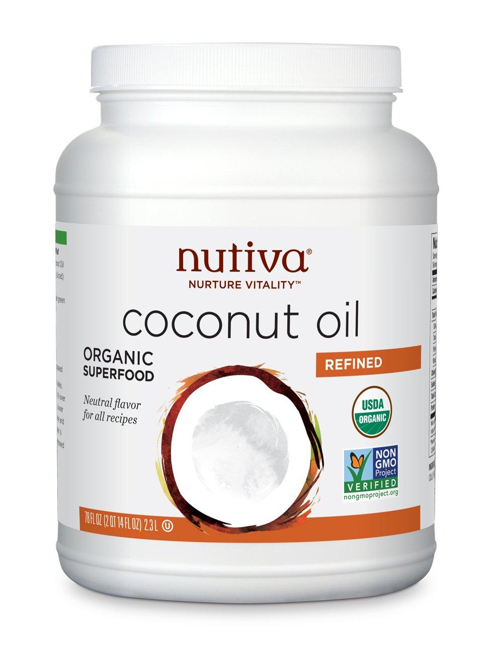 Nutiva Organic, Neutral Tasting, Steam Refined Coconut Oil, 78-ounce by Nutiva