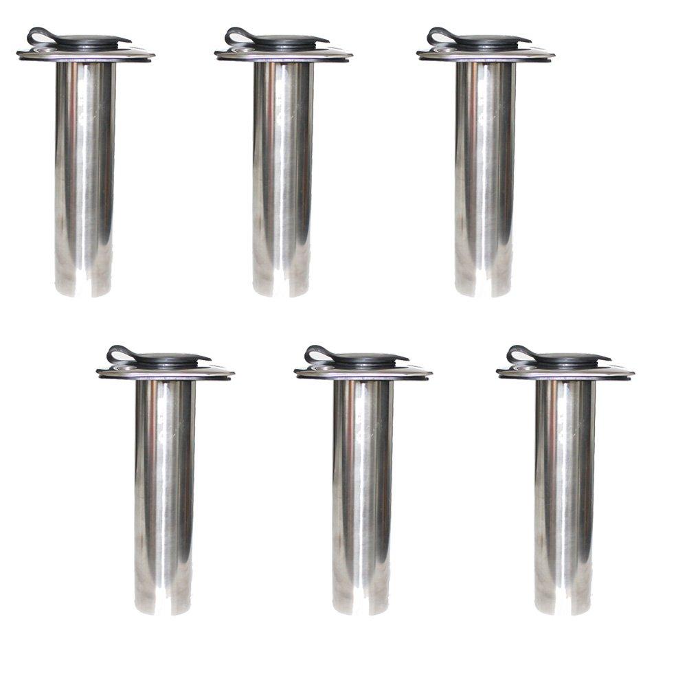 X-Haibei 6 Fishing Rod Holder Flush Mount 0 Degree Vinyl Liner Cap Stainless Steel