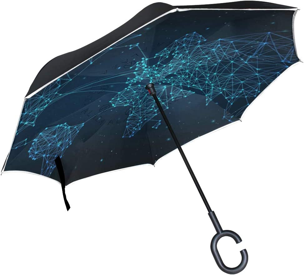 Double Layer Inverted Inverted Umbrella Is Light And Sturdy Beautiful Dark Forest Print Parrot Bird Reverse Umbrella And Windproof Umbrella Edge Nigh