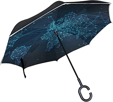 PYFXSALA Green Candy Seamless Pattern Windproof Inverted Umbrella Double Layer UV Protection Self Stand Upside Down with C-Shaped Handle Folding Reverse Umbrella for Car Rain Outdoor