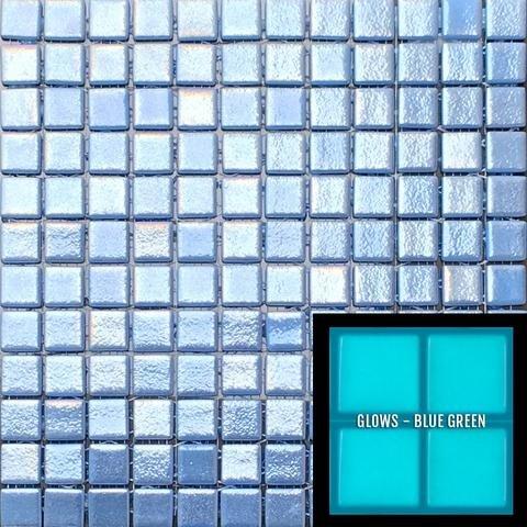 Glow in The Dark Glass Tile Mosaic.Series Foto Luminosa (Single Sheet, 106 Dark Blue, Slip Resistant 1