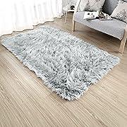 Rectangle Sheepskin Rug Supersoft Fluffy Area Rug Shaggy Silky Throw Rug Floor Mat Carpet Decoration (3 ft x 5 ft, Grey)