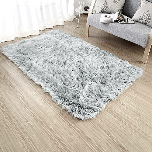 Rectangle Sheepskin Rug Supersoft Fluffy Area Rug Shaggy Silky Throw Rug Floor Mat Carpet Decoration (4 ft x 6 ft, Grey)
