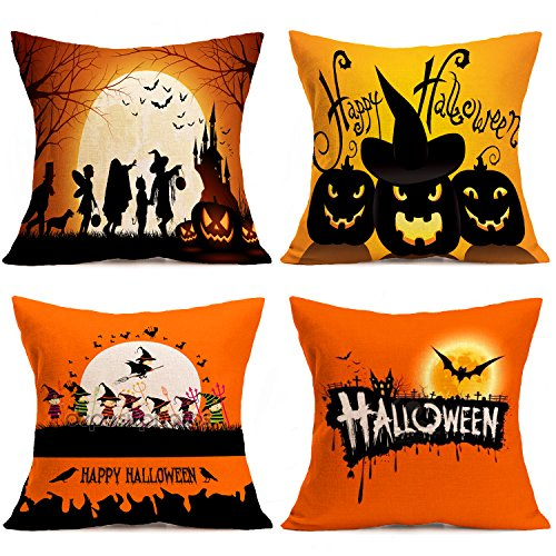 Happy Halloween Square Pillow Covers - Wonder4 Fall Decor Cotton Linen Square Throw Pillow Case Happy Halloween Decorations Cushion Cover with Bat Pumpkin Little Witch Element 18x18