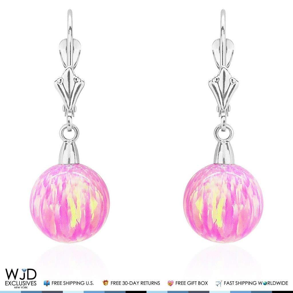 14K Solid White Gold 10 mm Ball Shaped Pink Fire Opal Leverback Dangle Earrings