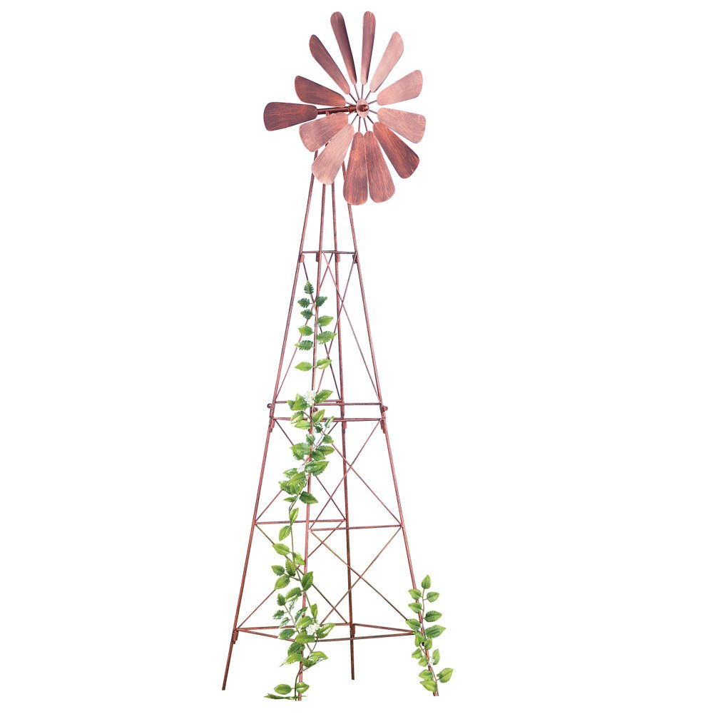 Collections Etc Windmill Spinner Plant Trellis