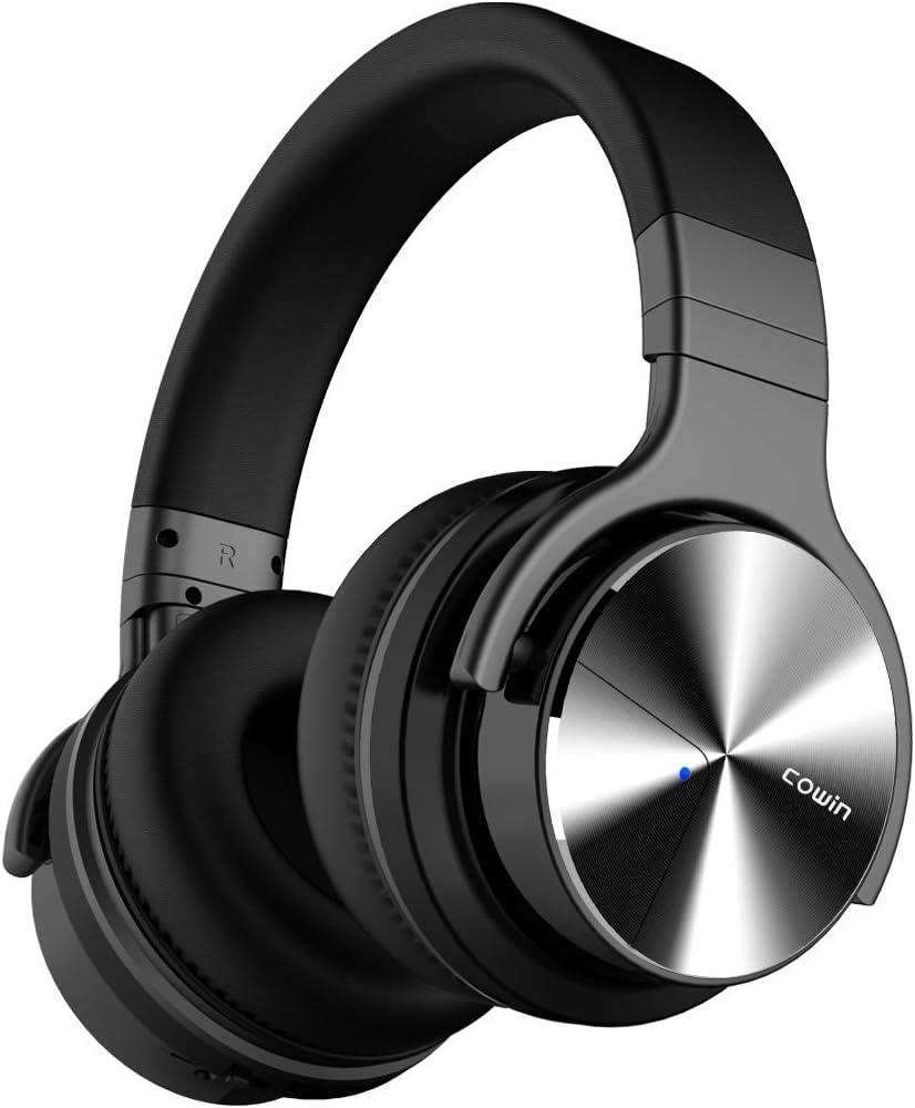 COWIN E7 Pro Active Noise Cancelling Headphone Bluetooth Headphones Microphone Wireless Headphones Over Ear Hi-Fi Deep Bass 30H Playtime Travel Work TV Computer Cellphone - Black