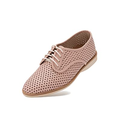 4942391a03 Rollie Women s Lightweight Derby Punch Perforated Lace-Up Flat Shoe with  Diamond Shaped Holes for Spring Summer Lightest Weight in Premium Leather  for ...