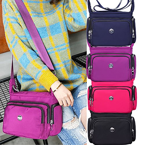 Body Pockets Women Multi Purse Shoulder Black Nylon Cross for Zippers Fabuxry Handbags qxzBSwWaES