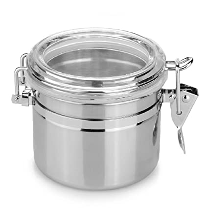 Acrílico Acero inoxidable sellado hermético Bote para azúcar Galletas Snack té Container Home Kitchen Dry Food Container, No.4