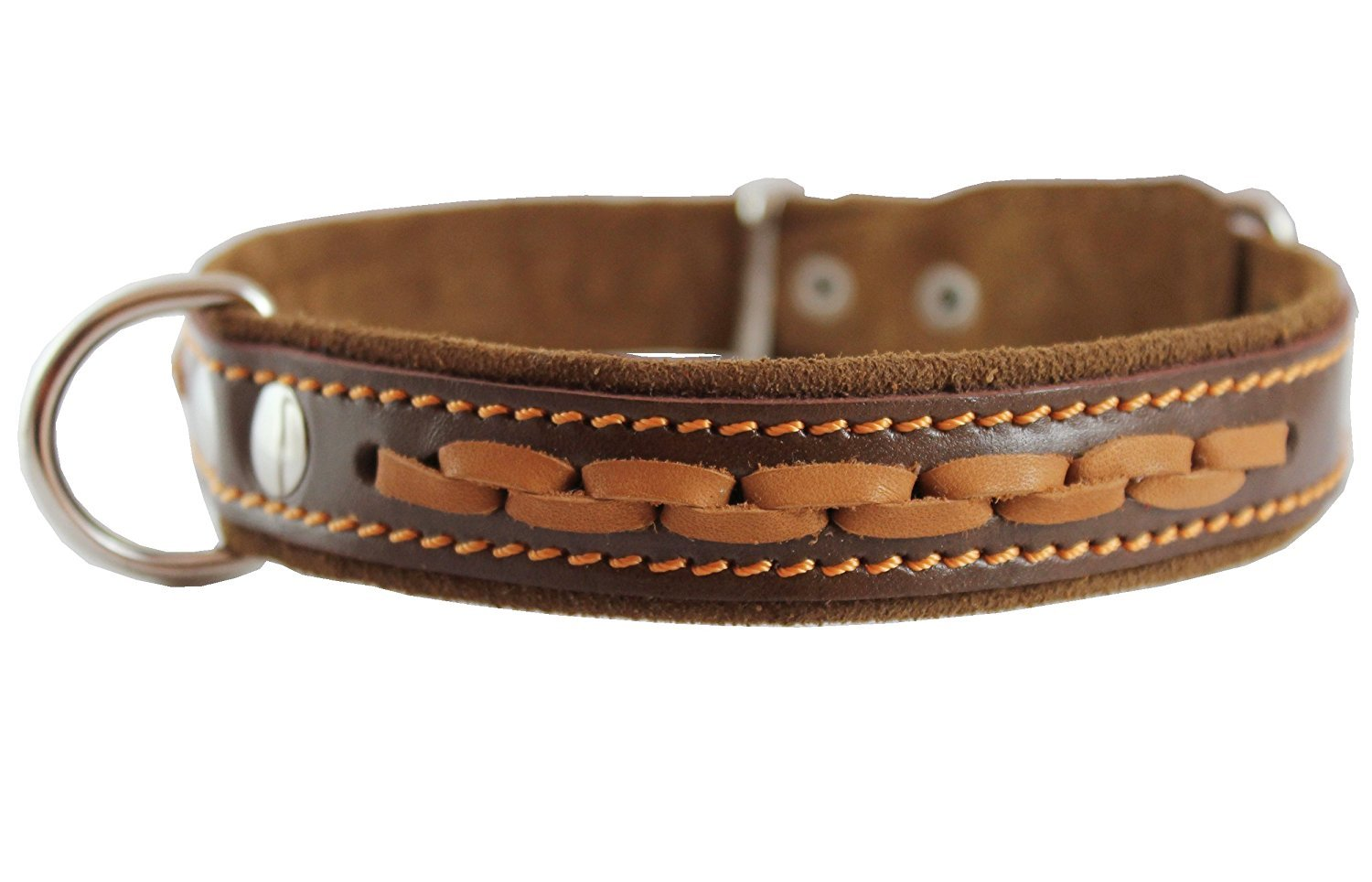 Brown High Quality Genuine Leather Braided Dog Collar, 1  Wide. Fits 14 -17  Neck.