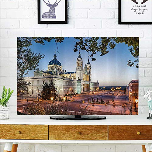 L-QN tv dust Cover Old Cathedral and Royal Palace in Madrid Mediterrenean Mod City Europe Dust Resistant Television Protector W25 x H45 INCH/TV 47