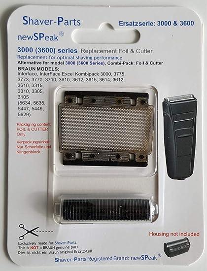 Lámina de afeitar alternativa Braun 3000 (3600) Series (este no es un artículo original de Braun).: Amazon.es: Salud y cuidado personal