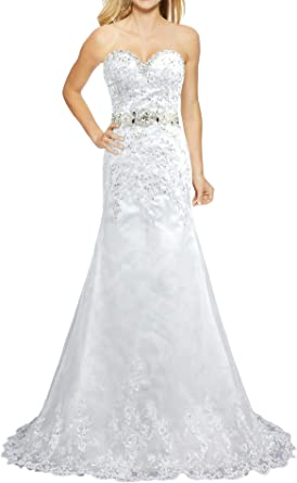 ANTS Princess Satin Crystal Embroidery Wedding Dresses for Bride 2017
