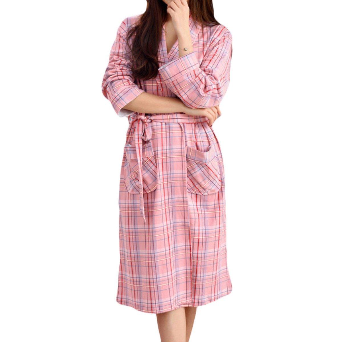Mujeres Algodón Kimono Plaid Suelta Manga Suelta Camisón Camisón ...