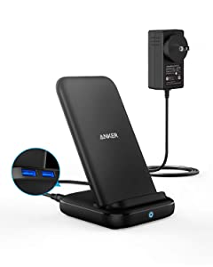 Anker 3-in-1 Multi-Device Wireless Charging Station, PowerWave 10 Stand with 2 USB-A Ports, for iPhone 11, 11 Pro, XS Max, XR, XS, X, 8, 8 Plus, Galaxy S10, S9, S8. 36W Power Supply Included